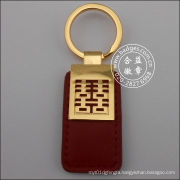 Leather Key Ring, Gold Plated Metal Keychain (GZHY-KA-070)