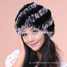 Lady Winter Hats Fashion Fur Kintted Caps And Hats