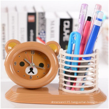 Brown Hand Bass Alarm Clock, High-Quality Plastic Student Desktop Clock