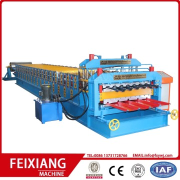 Double layer roof sheet and step tiles machine