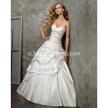 Princess Ball Gown Sweetlove Cathedral Train Taffeta Beading Thêu Wedding Dress