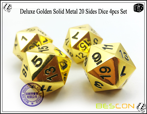 Deluxe Golden Solid Metal 20 Sides Dice 4pcs Set-2