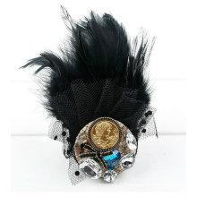 Bouton en dentelle noire Fashion Broche Cyrstal Broche en plume naturelle BH15