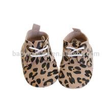 Gold Leather Leopard Design Baby Walker Chaussures Toddler Girls Boys Soft Sole First Walker