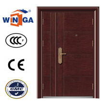 Holz Braun Farbe Big Size Stahl Sicherheit Eisen Tür (W-SZ-02)
