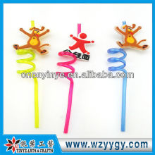 3D Animal Pvc Straw With Stopper For drinking juice shop