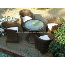 Открытый алюминий круглый обеденный стол и стулья