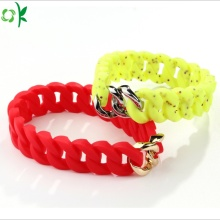Custom Personalized Yellow/pink Tire Silicone Ring Bracelet