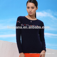 100% cashmere women's embroidery sweater