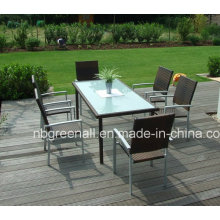 Patio Garden Aluminum PE Outdoor Rattan Dining Chair Set