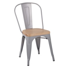 Metal Dining Stackable Tolix Chair With Wood Seat