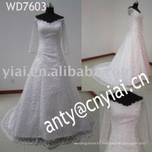 WD7603 2014 muslim bridal long sleeve lace wedding dresses