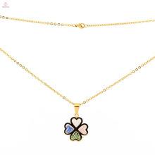 Высокое качество нержавеющей стали новый дизайн золото цепочка клевер кулон ожерелье для мужчин