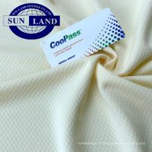 Tissu en maille hexagonale 100% polyester, coupe sec, pour vêtements de sport et t-shirts
