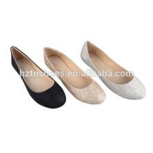 Cheap Ladies Calçado China Fábrica Importação Mulheres Flat Glitter Dress Shoes