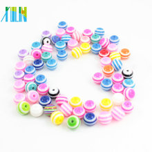 Solid Resin Striped Round Shape Beads