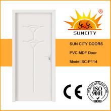 Puerta de madera interior moderna del PVC de la casa MDF (SC-P114)