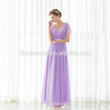 Оптовые Дешевые Свадьбы Невесты Платья Фиолетовый V-Образным Вырезом Макси Длинное Вечернее Платье