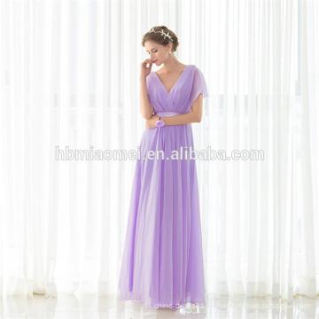Casamentos baratos por atacado vestidos de dama de honra roxo com decote em v maxi longo vestido de noite