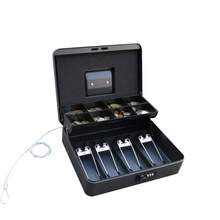 Luxury Money Boxes Locking Cash Box with Metal Clips and Coin Tray