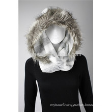Lady's Acrylic knitted infinity scarf with faux fur