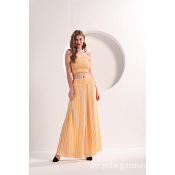 Frauen Yellow Strip Wide Leg Pants