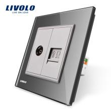 Manufacture Livolo, panneau de verre gris en cristal, ordinateur mural 2 Gangs et prise / sortie TV VL-C791VC-15, sans adaptateur