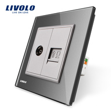 Производство Livolo, Панель из серого хрусталя, 2-канальная настенная розетка для компьютера и телевизора VL-C791VC-15, без штекера
