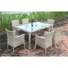 Открытый ротанга прямоугольник обеденный стол и кресло wicker сада