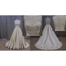 China Factoty preço Lace Applique Champagne mancha vestido de noiva 2016