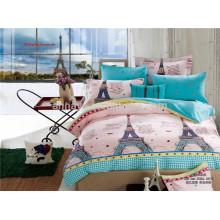Conjunto de edredão de cama de impressão 3D torre Eiffel conjunto de lençóis e conjunto de lençóis tecido