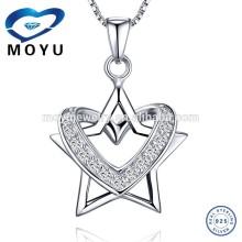 Unique Design Removable Star and Heart Pendant 925 pure silver jewelry