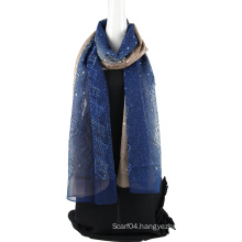 Two tone color emboidery silk chiffon scarf with Sequins