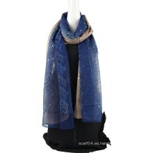 Bufanda de seda de gasa de seda de emboidery de dos tonos con lentejuelas