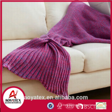 aoyatex 100% acrylic super soft multicolor knitted mermaid tail blanket