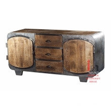 Support en bois encadré en fer avec armoire