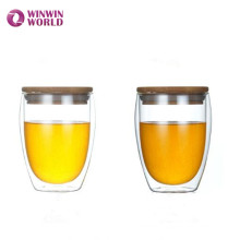 World Cup Gift Drinking Glass Juice Cup With Bamboo Lid Without Handle