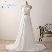 A-Line Chiffon Pleat Crystal Bride White Beach Wedding Dress