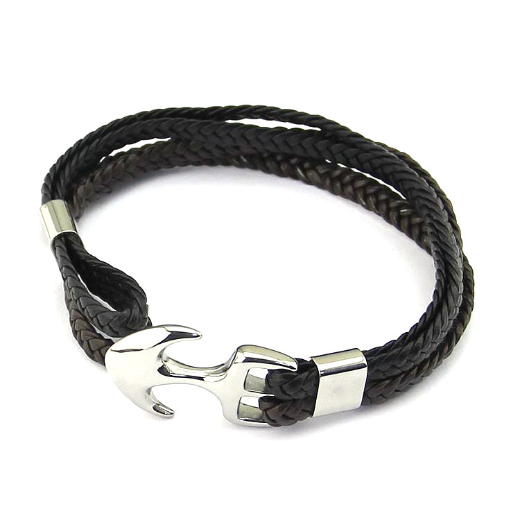 Leather Anchor Hook Mens Bracelet