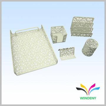 Artigos de escritório metal 5 peças de papelão branco conjunto de papelaria