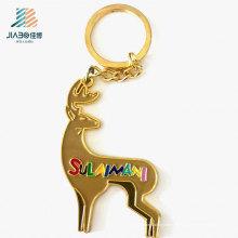 Elemento promocional de la aleación del cinc de los objetos de la Navidad Llavero de encargo del metal del logotipo del cervatillo