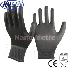 Nmsafety Black PU Palm Coated Top Fit Hand Working Glove