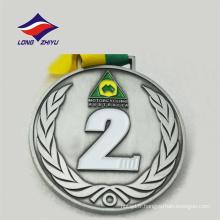 Custom neck ribbon round design sport logo médaille de moto