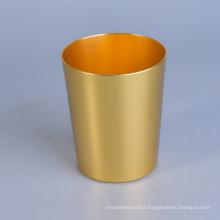 Metal Enclosed Brass Candle Jar Gold Color