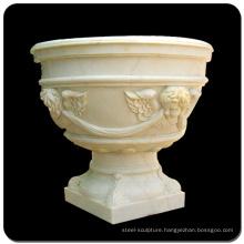 Big outdoor flower pots marble stone flowerpot for sale