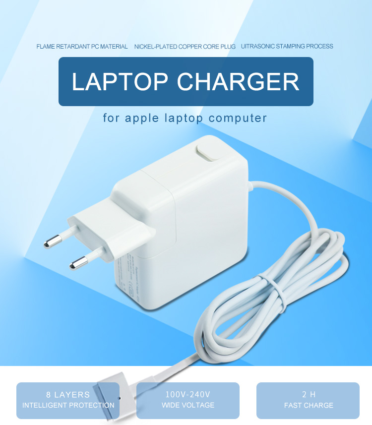 45w eu plug t tip wall power adapter for apple laptop computer