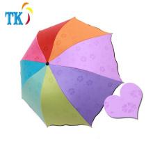Kreativer Regenbogen-Wasser-Blüten-Regenschirm gefalteter Sonnenschirm-Regenschirm
