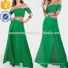 Shirring Crop & Matching Skirt Set Manufacture Wholesale Fashion Women Apparel (TA4122SS)