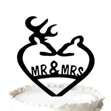 Topper do bolo de casamento de veado, gravado senhor & deputada bolo Topper