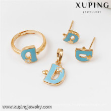 Ensembles de bijoux en or 64016-Xuping, ensemble de bijoux en laiton de mode avec l'or 18K plaqué
